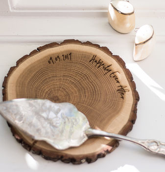 Real Oak 'Happily Ever After' Personalised Wedding Gift