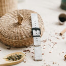 'Grey Marble' Leather Smartwatch Strap; Handmade Band
