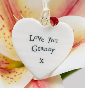 'Love You Granny' Porcelain Hanging Heart Gift