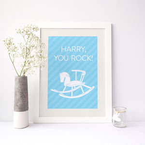 'You Rock' Personalised Baby Name Print