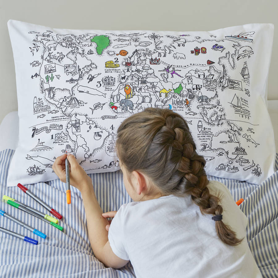 World Map Pillowcase Colour And Learn Gifts For Babies Children