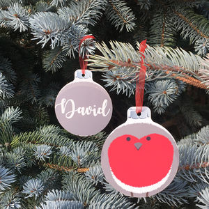 Personalised Robin Hanging Christmas Decoration