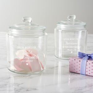 Personalised Christening Wishes Jar - tins, jars & bottles