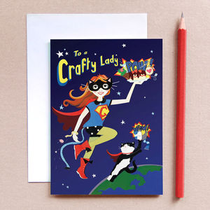 'Crafty Lady Birthday Card', Girls Birthday Card