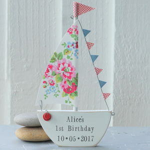 Personalised Standing Floral Sailing Boat Keepsake - door plaques & signs