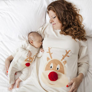 Christmas Pyjamas Mum And Baby Reindeer Print - gifts for families