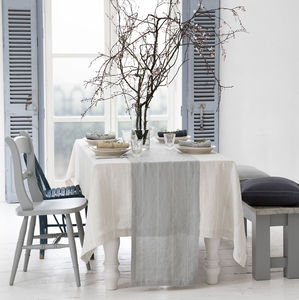 Italian Stripe Linen Tablecloth - kitchen