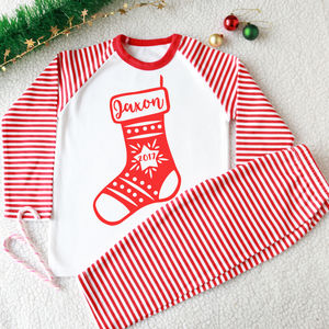 Kid's Personalised Christmas Stocking Pyjamas
