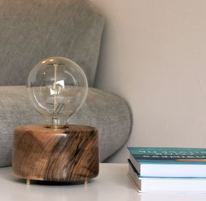 Seaton Walnut Wood Table Lamp With Edison Light Bulb - table & floor lamps