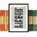 Book Lover 'A Room Without Books…' Quote Print