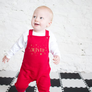 Personalised Metallic Stars Christmas Dungarees - new in baby & child