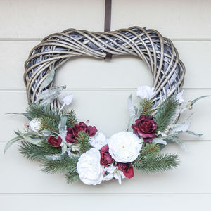 The White And Red Rose Heart Christmas Wreath - flowers