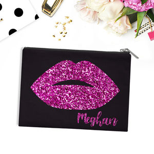 Personalised Glitter Lips Cotton Canvas Bag