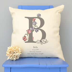 Personalised Birth Flower And Birth Stone Cushion - children's room