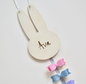 Personalised Bunny Rabbit Hair Bow Hanger Wood - home accessories