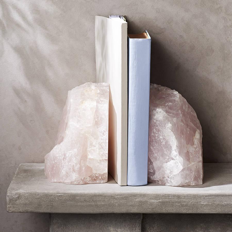 Rose Quartz Crystal Bookends