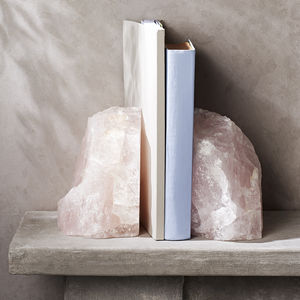 Rose Quartz Crystal Bookends - home accessories