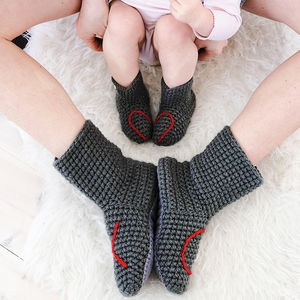 Mummy And Me Heart Slipper Sock Set - mother & child sets