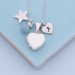 Personalised Silver Heart Locket With Birthstones - necklaces & pendants
