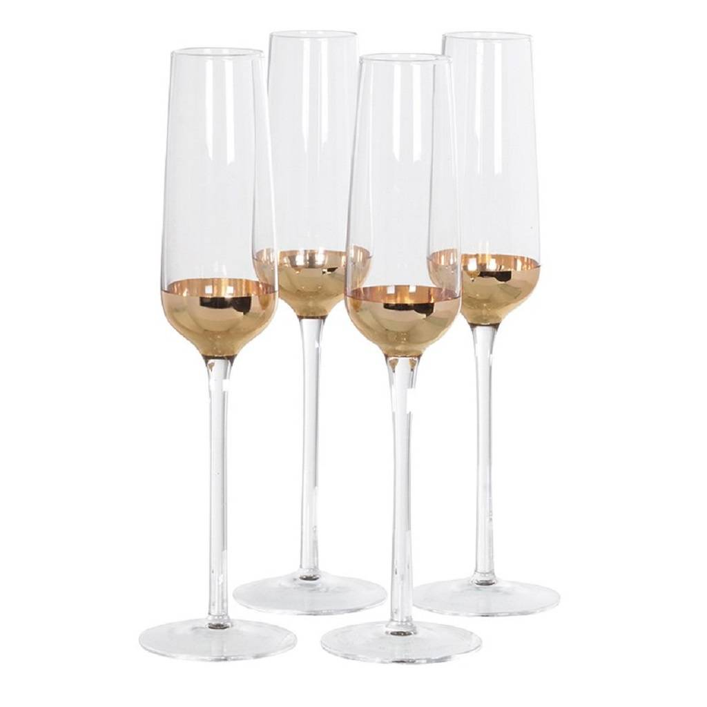 Set Of Four Copper Plated Champagne Glasses