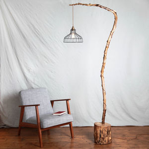 Wooden Floor Light With Metal Caged Shade - lighting