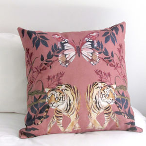 Vegan Suede Watercolour Hand Painted Tigra Cushion