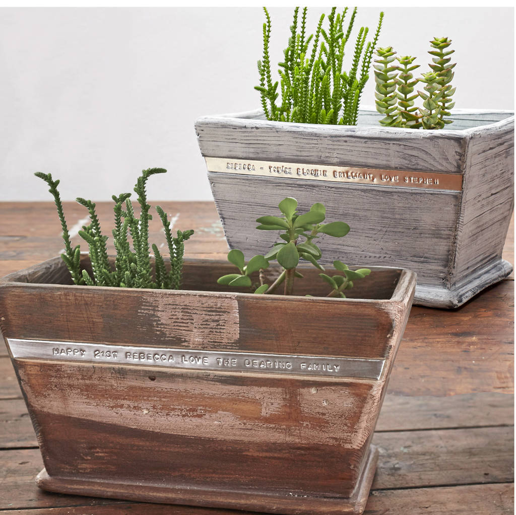 Personalised wooden pot planter by warner 39 s end for Wooden garden planter designs