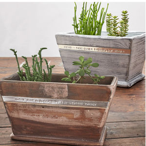 Personalised Wooden Planter - 10th anniversary: tin