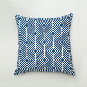 Navy Optical Pattern Cushion - cushions