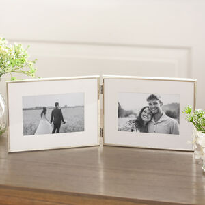 Fine Silver Oblong Double Photo Frame