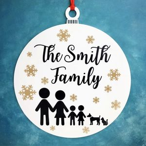 Christmas Stick Family Bauble Wreath