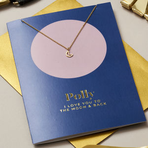 Personalised 'Moon And Back' Card And Necklace Set