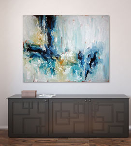 Epiphany Iv Large Blue Abstract Painting - what's new