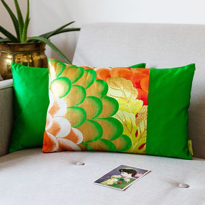 Green Silk Floral Obi Cushion - living room
