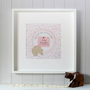 New Baby Girl Personalised Canvas 'Dream Big' Print