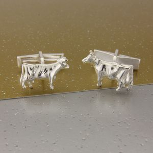 Cow Cufflinks In Sterling Silver ; Can Be Personalized