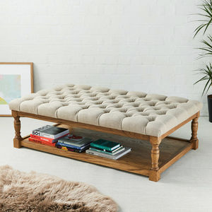 Deep Buttoned Oak Coffee Table Stool - living room