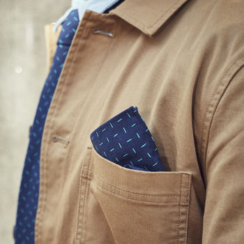 Mens Navy Geometric Print Pocket Square