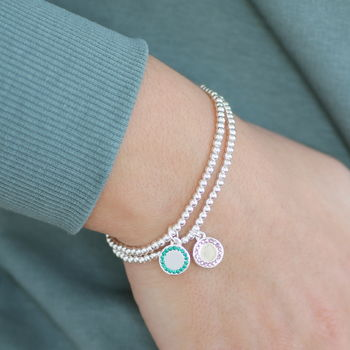 Personalised Birthstone Disc Stretch Bracelet