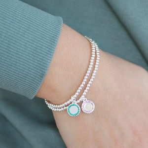 Personalised Birthstone Disc Stretch Bracelet - birthstone jewellery gifts