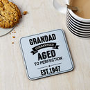 Personalised Vintage Age Leather Coaster
