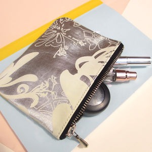 Clematis Handmade Leather Cosmetic Bag