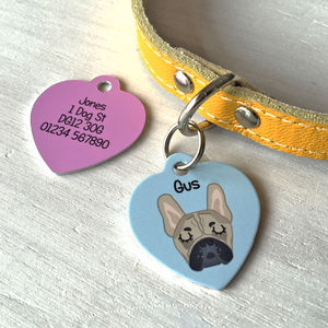 Personalised Pet Name Tag Heart - dogs