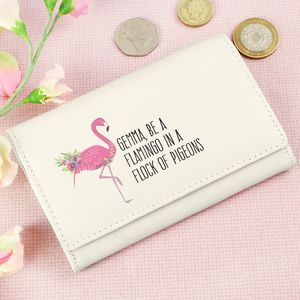 Flamingo Cream Personalised Purse