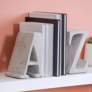 A Z Concrete Bookends - book-lover