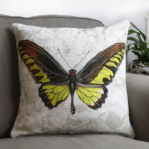 Chartreuse Butterfly Floral Print Cushion - new season homeware
