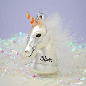 Personalised Hanging Unicorn Glass Decoration