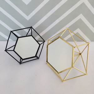 3D Geometric Black Standing Mirror - home accessories