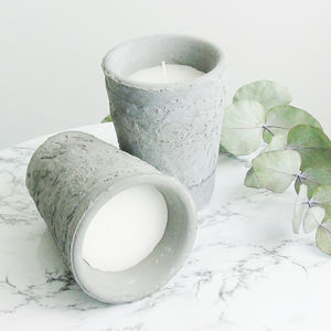 Concrete Grey Candle Pot