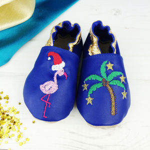 Personalised Tropical Flamingo Christmas Baby Shoes